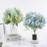 2Pcs Artificial Flowers Fake Peony Silk Hydrangea Bouquet Decor Plastic Carnations Realistic Flower Arrangements Wedding Decora Decorative &