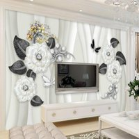 Wallpapers Modern Mural Pure White Rose Jewelry Flower Background Floral For Living Room Bedroom Walls 3D Wall Papers Home Decor