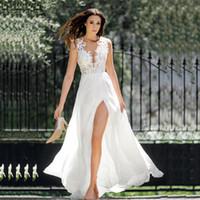 Other Wedding Dresses Sexy Boho Beach O Neck Cap Sleeve Pearls Applique Chiffon Dress High Slit Bridal Gown
