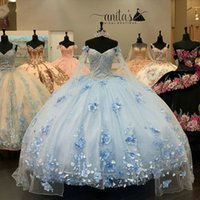 Handmade Flowers Appliques Lace Quinceanera Dresses with cape sky blue lace-up Ribbons Sweet 16 Prom Dress vestidos de 15 años