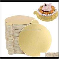 Backformen Küche, Essbar Home Garden100pcs / set Runde Mousse Boards Gold Paper Cupcake Dessert Displays Tablett Hochzeit Geburtstagstorte Vergangenheit