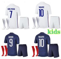 France Kids home soccer jersey 21- 22 away MBAPPE GRIEZMANN KANTE POGBA maillots de football maillot equipe French Child kit socks