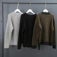 Women's Knits & Tees Mohair Blend V-neck Women Knit Cardigan Sweater Long Sleeve Loose Single-breasted Lady Autumn Winter