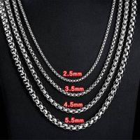 Collier en acier inoxydable de 2,5 mm à 5,5 mm Rolo Croix Twist Chain Lien pour hommes Femmes 45cm-75cm Longueur avec sac en velours