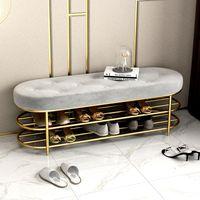 Customized Luxury Shoe Stool With 2 Tiers Rack Shelf Sofa Seat Cushion Entrance Door Cabinet Bench Storage Clothing & Wardrobe