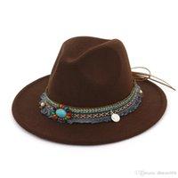 Shade HOAREE Gray Fedora Hat Ladies Vintage Felt Hat Women Casual Ethnic Style Wide Brim Woolen Autumn Winter 2020 New Trilby Cap