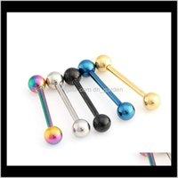 Yüzükler 141619mm 316 Titanyum Çelik Dudak Dil Yüzük Bar Göbek Vücut Piercing Serin Moda Takı 5 Wot9u E1HGU