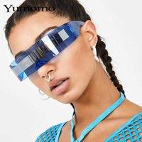 Óculos de sol Moda Siamese Futuristic Envoltório em torno de Monob Traje Sunglasses Luxo Marca Designer Máscara Novidade Roxo Azul Goggle