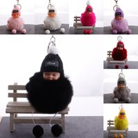 Kimter Car Key Ring Sweet Sleeping Baby Doll Keychain Fluffy Pompom Knitted Hat Keychains Charm Pendant Toy Gift Fashion Accessories H605Q F
