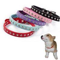 Dog Collars & Leashes Pet Super Shining Diamond Rhinestone Cat Collar Puppy Smalls PU Leather Necklace Kitten Neck Strap Accessories