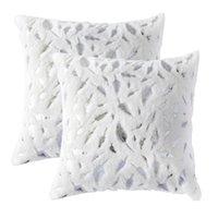 Favors Kisses ديكور المنزل أريكة سرير 45x45 أبيض سييرا وسادة يغطي مجموعة للسرير التقى الذهب والفضة المطبوعة ريشة جيغيزازا