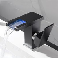 LED Waterfall Bathroom Basin Faucet Single Handle Coldhot Waters Mixer Sink Tap RGB Color Change Powered by Water Flow