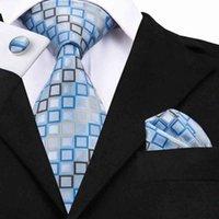SN-1128 Blue Jaune Cravate géométrique Hanky Boutons de manchette Définit les liens de soie 100% en soie pour hommes Garié de mariage formelle Y1AT #