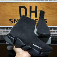 أعلى جودة مصممي الفاخرة أحذية الرجال النساء أزواج الجوارب سرعة 2.0 المدرب الثلاثي s الأسود حذاء رجل إمرأة في الهواء الطلق منصة عارضة المدربين أحذية رياضية مع مربع 1a