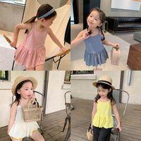 Meninas Tanque de Tanque Children Tops Verão Crianças Roupas Use Sling para Childrens T-shirt Bebê Vestido de Algodão Tee B6757