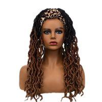 Synthetic Wigs VADES Headband Dreadloc Hair Wig Long Black Brown Soft Faux Locs Braiding Crochet Twist For Women