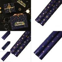 Imballaggio regalo di carta decorativo colore metallico colore scuro blu carte stelle natale albero di natale stampa regalo del partito oro 0 66WK N2