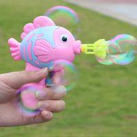 아이 버블 총 장난감 만화 물고기 비누 물 거품 기계 재미 거품 메이커 여름 장난감 어린이 유아 실내 야외