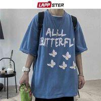 Uomini di Lappster Arajuku Butterfly T-shirt a mezza manica Summer Mens T-shirt da uomo coreano T-shirt Vintage Streetwear in cotone Tees 210324