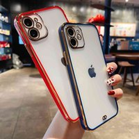 Suitable for iPhone 11 two-color electroplating mobile phone case fine hole lens, apple 12 protective case electroplating TPU software