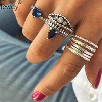 Küpe Kolye Jewy Mavi Kalp Kristal Yüzükler Kadınlar Için Set Boho Gümüş Renk Midi Kunckle Vintage Takı