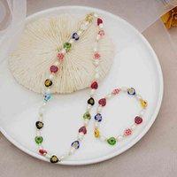 3 Mode Blume Muster Herz Lampwork Glasierte Glasperlen Armband Halskette Süßwasser Perle Schmuck Sets