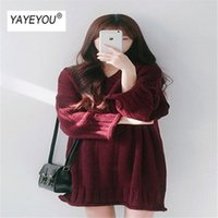 Casual Dresses YAYEYOU Vintage Chic Style All-around V-neck Solid Loose Long Sleeve Sweater Medium Knitted Dress Female