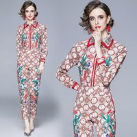 Spring Summer Fall Runway 2 Piece Womens Ladies Sets Retro Vintage Print Collar Long Sleeve Top Shirt Blouse Pant Suits Outfits Women's Trac