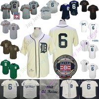 Al Kaline Jersey 1968 Counterstown Grey Cream Hall of Fame Patch Navy Bianco Green Player Fans Ex Black Fashion Size S-3XL