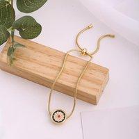 Esmalte bonito margarida moda ajustável pulseira colar simples flor retrô jóias conjunto para mulheres rodada geometria pingente charme pulseiras