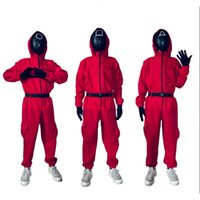 Halloween Toys Squid Game Party Streamer Decorate Jacket Pants Supplies Cosplay Suit Costume Carnival One-Piece With Belt Gloves Red Jumpsuit DHL