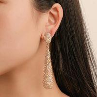 European Water Drop Dull Polish Dangle Earrings Long Pattern Relief Gold Ear Dangling Women Alloy Metal Party Gift Stud Earring Jewelry Accessories Wholesale