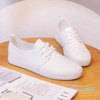 fashion-Dress Shoes Casual female sneakers modern casual for women soft leather solid color simple white