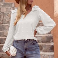 Women's Blouses & Shirts Womens Autumn Blouse Solid Lantern Sleeve Irregular Tops Shirt Loose Print Pullover Elegant Office Lady Chiffon