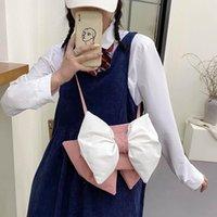 Evening Bags 2021 Cute Bow Maiden Messenger Bag One-shoulder Small Square Tote Satchel Handbag Lipstick Cartoon