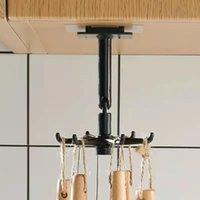 Hooks & Rails 2021 ABS Kitchen Hook Organizer Punch-free Multi-Purpose 360 Degree Rotatable Homestorage Cabinet Rack