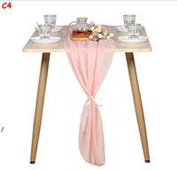 Prachtige Chiffon Tafel Runner Inch Romantische Bruiloft Decor Bruids Douche Baby Douche Verjaardagsfeestje Caketafel Decoraties DWB8429