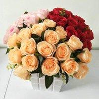 الزخرفية الزهور أكاليل 18 رؤساء / حفنة من الورود الاصطناعية النباتات مصغرة الأسرة الزفاف ديكورات diy هدية مربع حزب الديكور