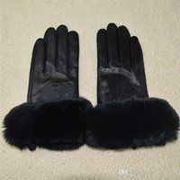 Premium brand winter top leather gloves and fleece touch screen rex rabbit fur mouth cycling cold-proof thermal sheepskin sub finger glove