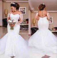 الفاخرة الديكور حورية البحر فساتين الزفاف طويلة الأكمام يزين اللؤلؤ الأفريقي الزفاف أثواب الزفاف زائد الحجم الزفاف vestido دي noiva