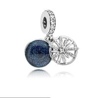 100% 925 Sterling Silver Not Plated Moon and Star CZ Pendant Charm European Charms Beads Fit Pandora Snake Chain Bracelet DIY Jewelry