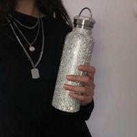 Botella de botella con aislamiento de gama alta brillante Bling Rhinestone Botella térmica de acero inoxidable Diamante Termó Botella de agua de plata con tapa 245 S2
