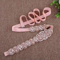 Fashas de boda S161B-RG Lujo Rosa Oro Bride Cinturón de Rhinestone Accesorios Flor para Vestidos Cinta nupcial Cinturones de vestir de noche