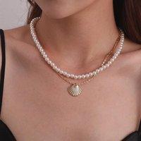 Corquistas gargantilha frisada colar de casca estética cadeias de pingente de jóias ouro cor de prata cor de luxo collier femme acessórios