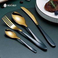 Worthbuy colorido talheres de ouro conjunto de alimentos 18/8 utensílios de mesa de aço inoxidável com faca colher garfo jantar conjunto de cozinha x0703