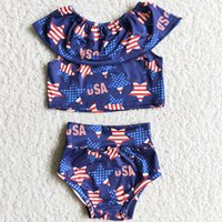 RTS Kids Designer Clothes Set Boutique Infant Baby Girls Bummies Sets Summer 4th of July Star Print Fashion Girl Clothing Outfits Wholesale Children Kid Outfit