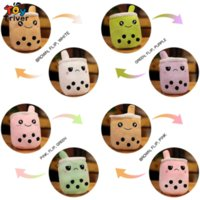Cute Reversible Boba Bubble Milk Tea Cup Drink Collectable Plush Toys Stuffed Doll Kawaii Baby Kids Children Girls Gifts Home Room Decor