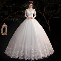 Other Wedding Dresses Diofly Usa 2021 Silver White O-neck Long Sleeve Simple Flowers Hollow Sexy Lace Embroidery Tulle Floor Length Dress