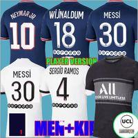 """Versão do jogador Messi 30 Sergio Ramos PSG """"Futebol Futebol Jerseys Terceiro 3º Manga Longa MBappe Hakimi Neymar Jr 21 22 Mailots de Futebol Camisa 2021 2022 Marquinhos"""