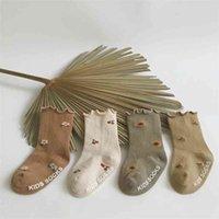 Kawaii Japan Korean Style Baby Girl Cotton Socks Little Flower and Cherry Pattern 4 pairs  lot 210619